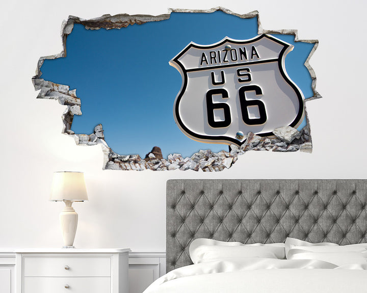 Route 66 Sign Bedroom Decal Vinyl Wall Sticker A074