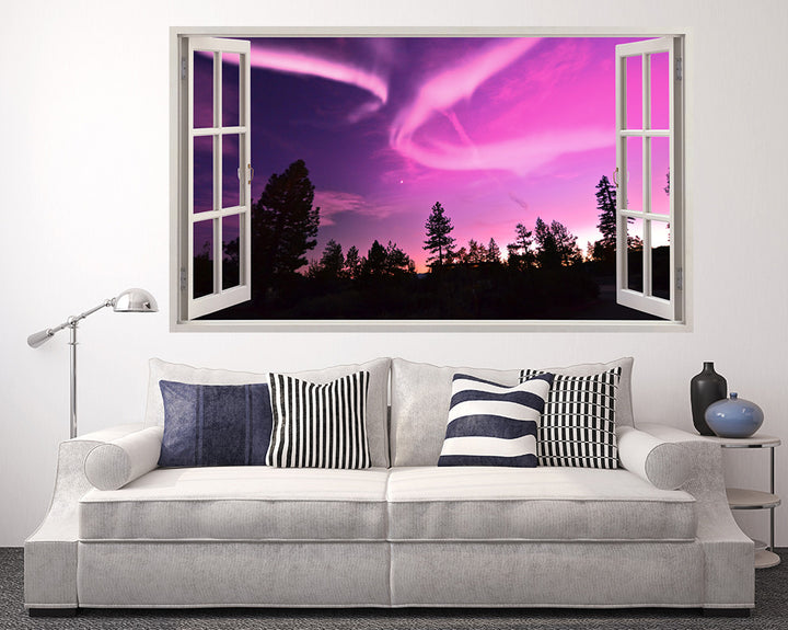 Pink#E000C5 Sky Silhouette Trees Living Room Decal Vinyl Wall Sticker A078w