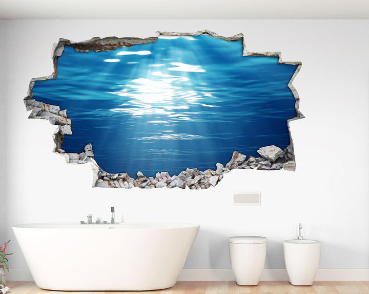 Sun Rays Sea Bathroom Decal Vinyl Wall Sticker A079