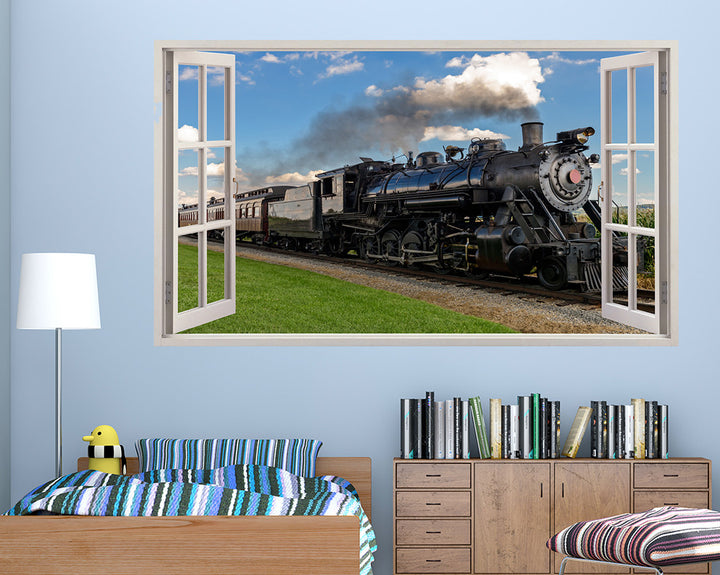 Railway Train Boys Bedroom Decal Vinyl Wall Sticker A082w