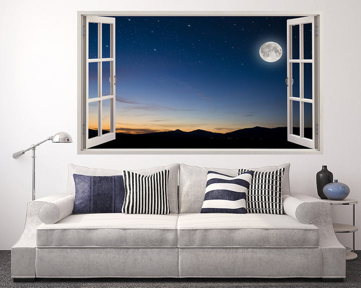 Moon Light Mountains Living Room Decal Vinyl Wall Sticker A084w