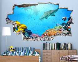 Coral Reef Shark Boys Bedroom Decal Vinyl Wall Sticker A088