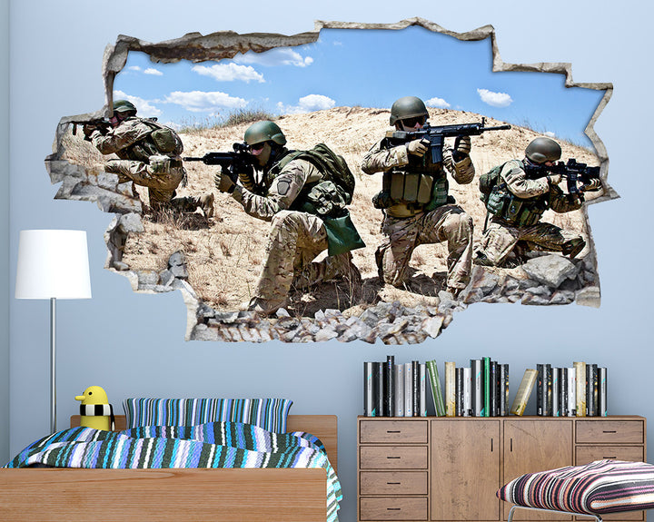 Army Soldiers Camouflage Boys Bedroom Decal Vinyl Wall Sticker A090