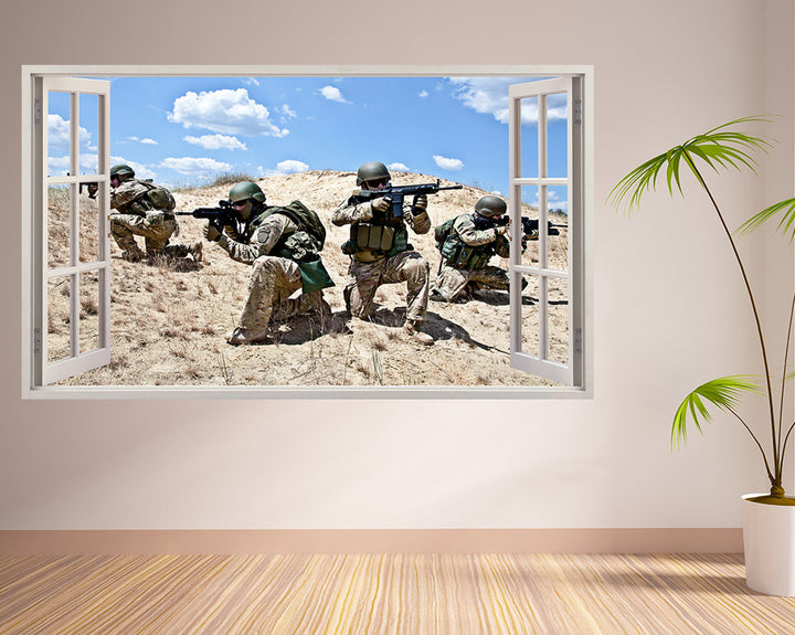 Army Men Guns Living Room Decal Vinyl Wall Sticker A090w