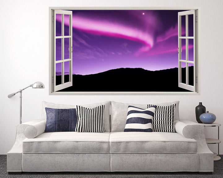 Pink#E000C5 Night Sky Living Room Decal Vinyl Wall Sticker A093w