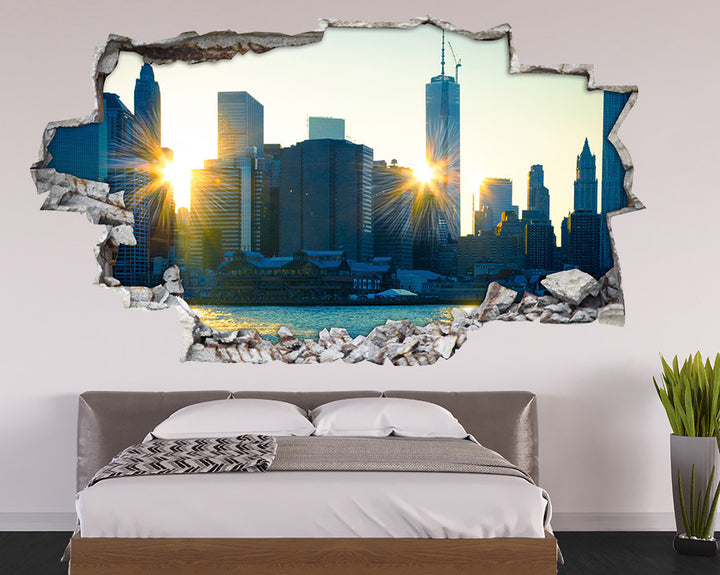 Sun Rays City Buildings Bedroom Decal Vinyl Wall Sticker A095