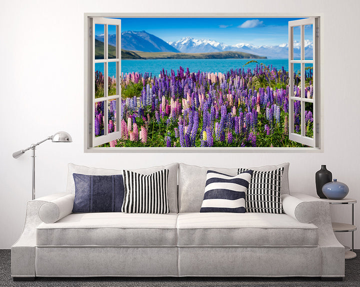 Beautiful Scenic Flowers Living Room Decal Vinyl Wall Sticker A099w