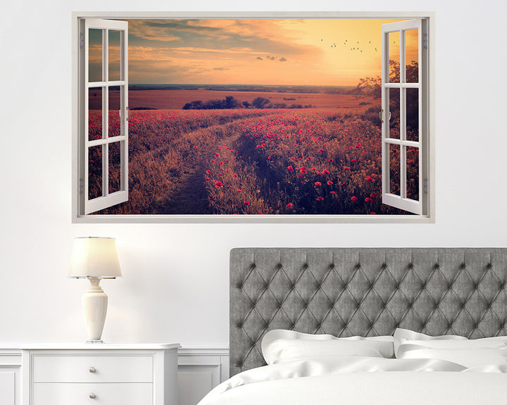 Poppy Field Countryside Bedroom Decal Vinyl Wall Sticker A106w