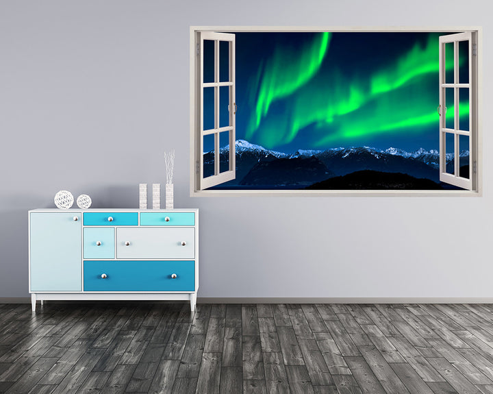 Scenic Northern Lights Mountains Hall Decal Vinyl Wall Sticker A108w