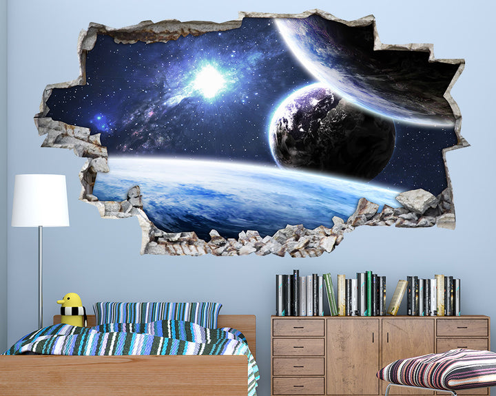 Large Blue Planets Boys Bedroom Decal Vinyl Wall Sticker A114