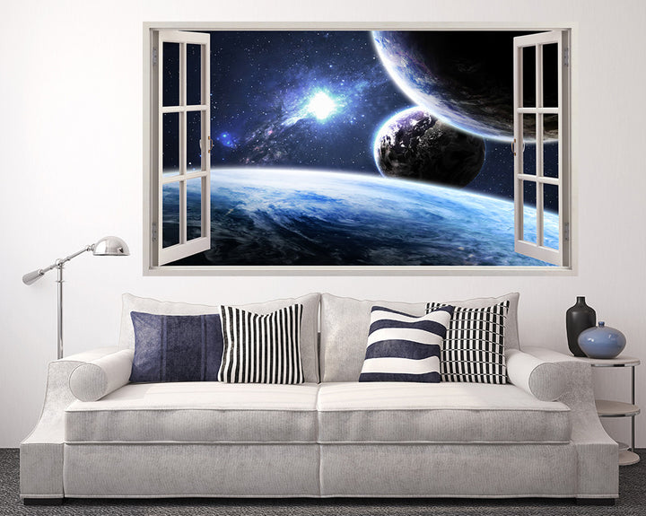 Planet Blue Galaxy Living Room Decal Vinyl Wall Sticker A114w