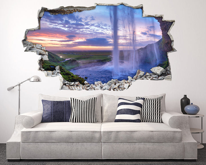 Beneath Waterfall Scenic Living Room Decal Vinyl Wall Sticker A121