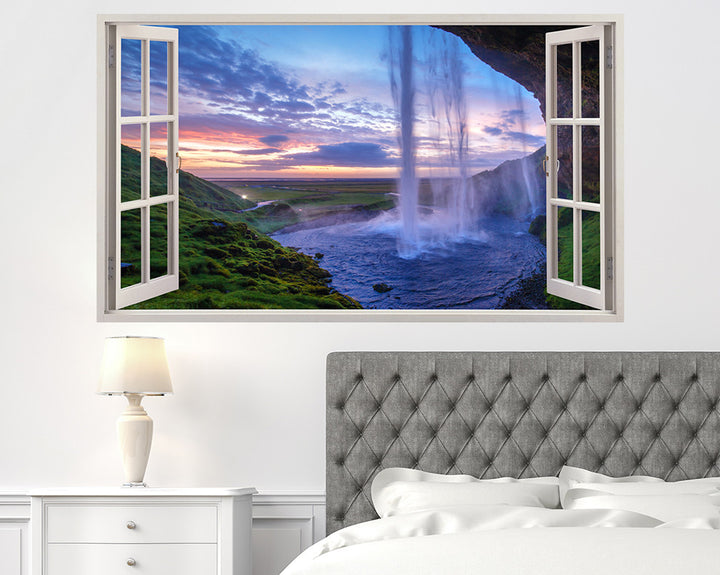Beautiful Waterfall Sunset Bedroom Decal Vinyl Wall Sticker A121w