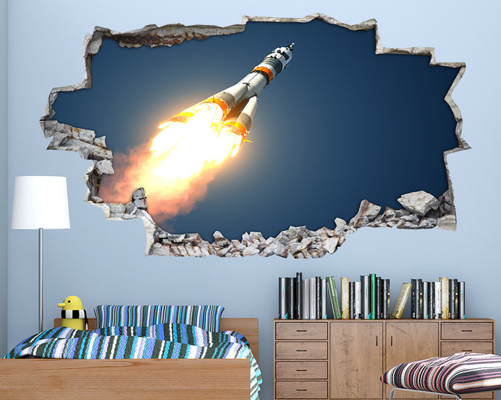 Rocket Flames Boys Bedroom Decal Vinyl Wall Sticker A130