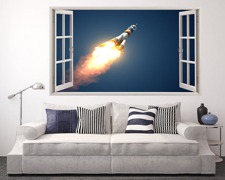 Cool Rocket Fire Living Room Decal Vinyl Wall Sticker A130w