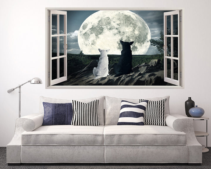 Dogs Moon Watching Living Room Decal Vinyl Wall Sticker A141w