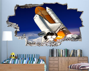 Rocket Space Shuttle Boys Bedroom Decal Vinyl Wall Sticker A148