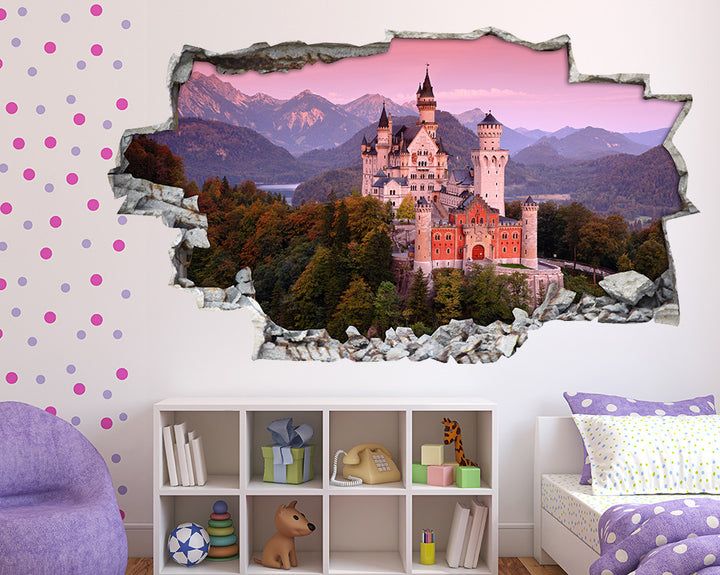 Pink Scenic Castle Girls Bedroom Decal Vinyl Wall Sticker A165