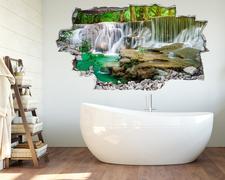 Scenic Nature Waterfall Bathroom Decal Vinyl Wall Sticker A171