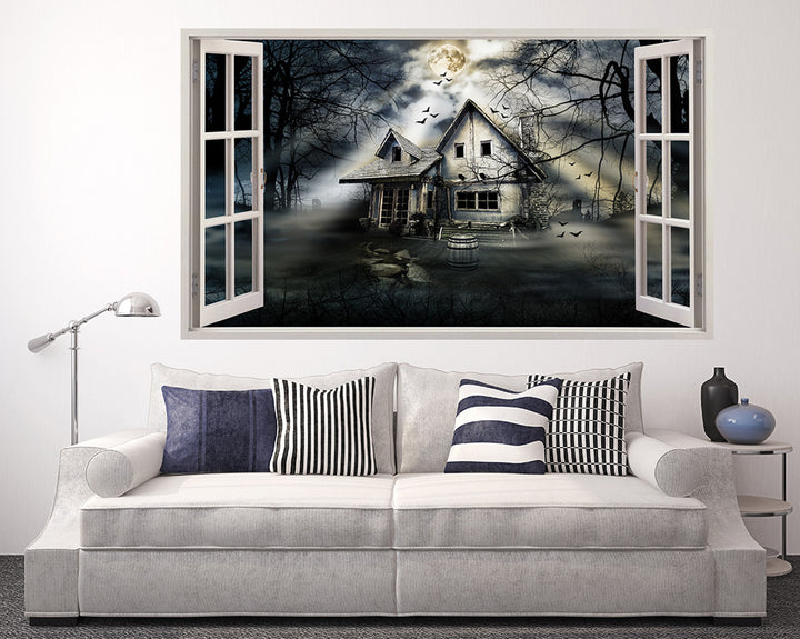 Haunted House Bats Living Room Decal Vinyl Wall Sticker A173w