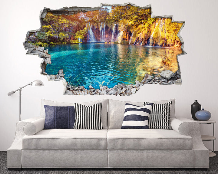 Colourful Waterfall Forest Living Room Decal Vinyl Wall Sticker A191