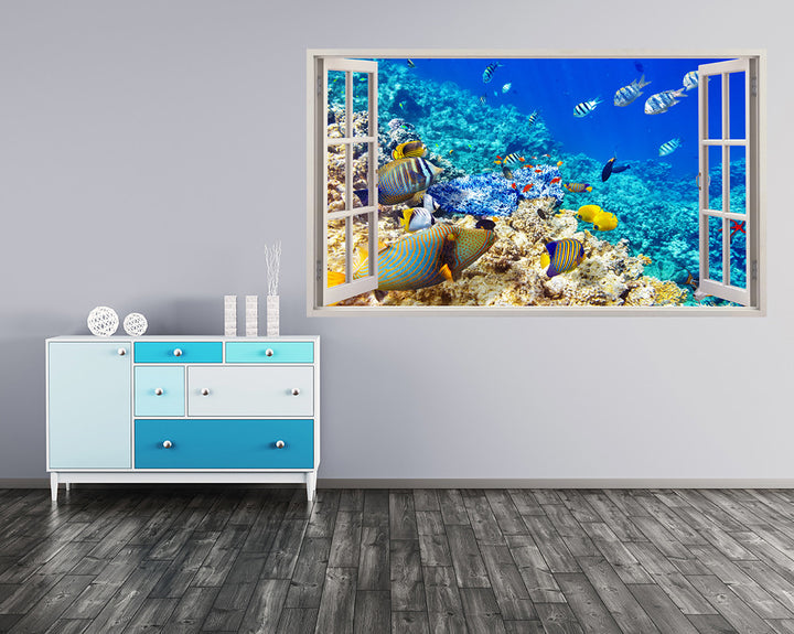 Colourful Cool Fish Hall Decal Vinyl Wall Sticker A192w