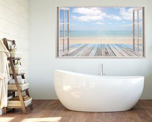 Pale Colour Beach Bathroom Decal Vinyl Wall Sticker A198w