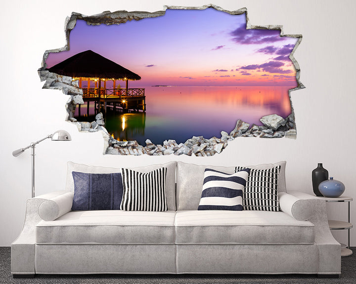 Pink Scenic Hut Living Room Decal Vinyl Wall Sticker A200