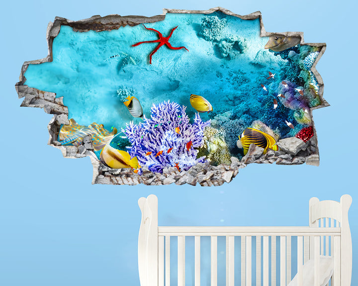 Blue Sea Floor Nursery Decal Vinyl Wall Sticker A202