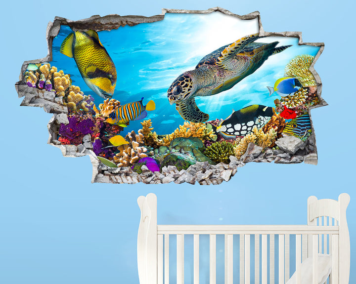 Fish Turtle Colourful Nursery Decal Vinyl Wall Sticker A216