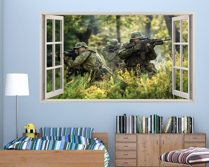 Camouflage Soldiers Boys Bedroom Decal Vinyl Wall Sticker A217w