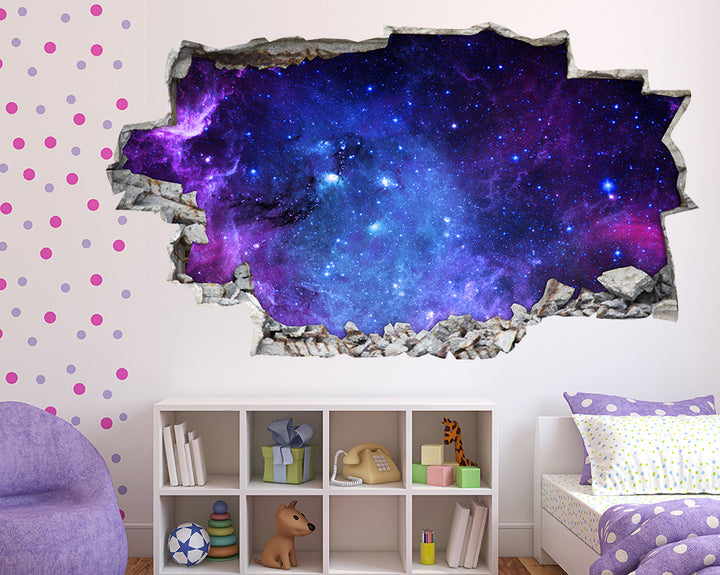 Purple Galaxy Stars Girls Bedroom Decal Vinyl Wall Sticker A218