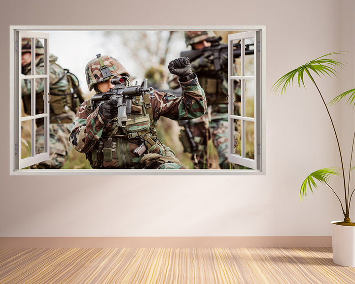 Army Gun Soldier Living Room Decal Vinyl Wall Sticker A220w