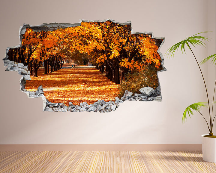 Orange Autumn Leaves Living Room Decal Vinyl Wall Sticker A223
