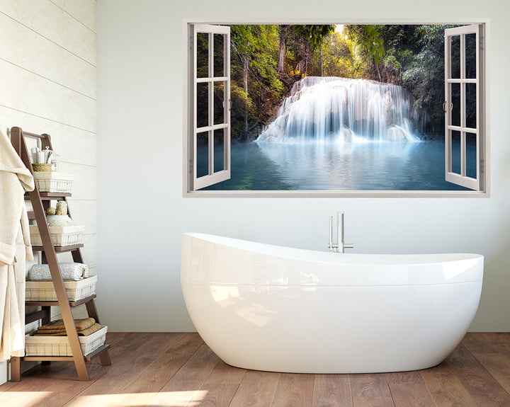 Cool Waterfall Forest Bathroom Decal Vinyl Wall Sticker A225w