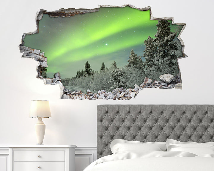 Snowy Trees Aurora Lights Bedroom Decal Vinyl Wall Sticker A227