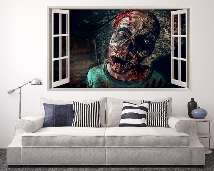 Zombie Man Face Living Room Decal Vinyl Wall Sticker A231w