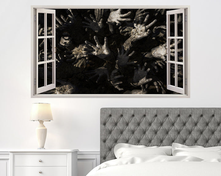 Horror Zombie Hands Bedroom Decal Vinyl Wall Sticker A232w