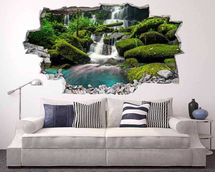 Green Rocks Waterfall Living Room Decal Vinyl Wall Sticker A234