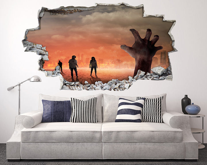 Zombie Hands Fire Living Room Decal Vinyl Wall Sticker A236