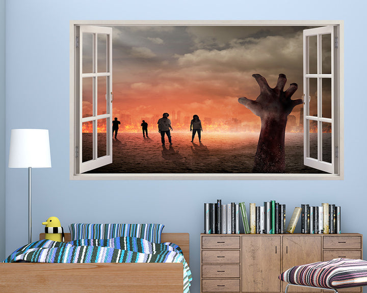 Zombie Hands Fire Boys Bedroom Decal Vinyl Wall Sticker A236w