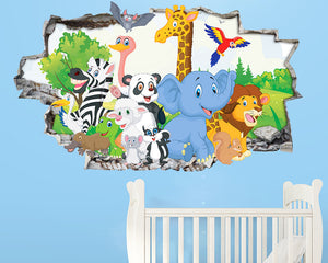 Colourful Animals Nursery Decal Vinyl Wall Sticker A288