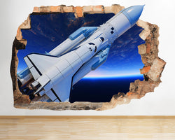 AA041 Space Ship Earth Planet Star Smashed Wall Decal 3D Art Stickers Vinyl Room