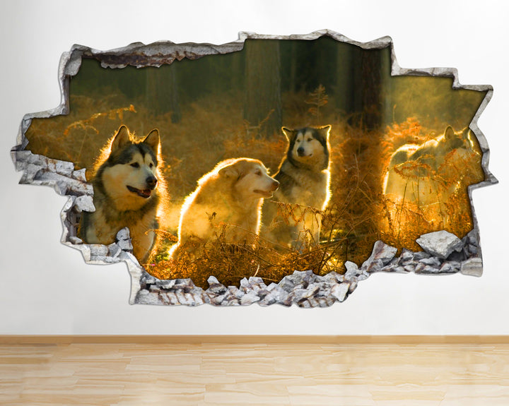 AA091 Wolves Wild Animals Nature Smashed Wall Decal 3D Art Stickers Vinyl Room