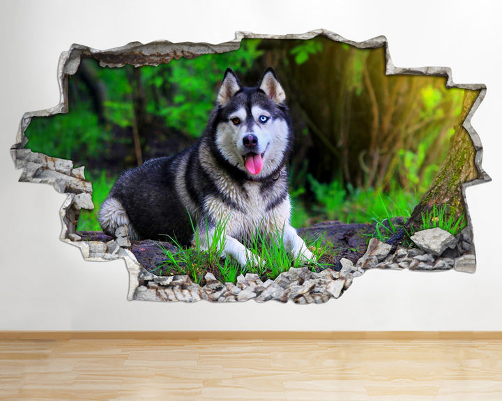 AA093 Husky Dogs Animals Nature Smashed Wall Decal 3D Art Stickers Vinyl Room