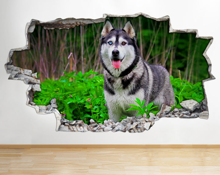 AA094 Husky Dogs Animals Nature Smashed Wall Decal 3D Art Stickers Vinyl Room