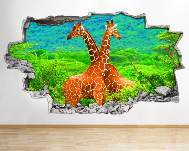 AA095 Giraffes Wild Animals Nature Smashed Wall Decal 3D Art Stickers Vinyl Room