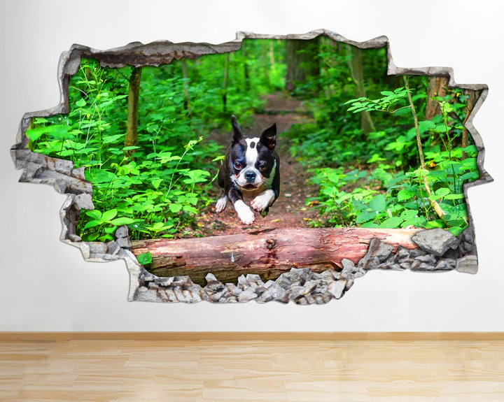 AA096 Dog Cute Tree Animals Nature Smashed Wall Decal 3D Art Stickers Vinyl Room