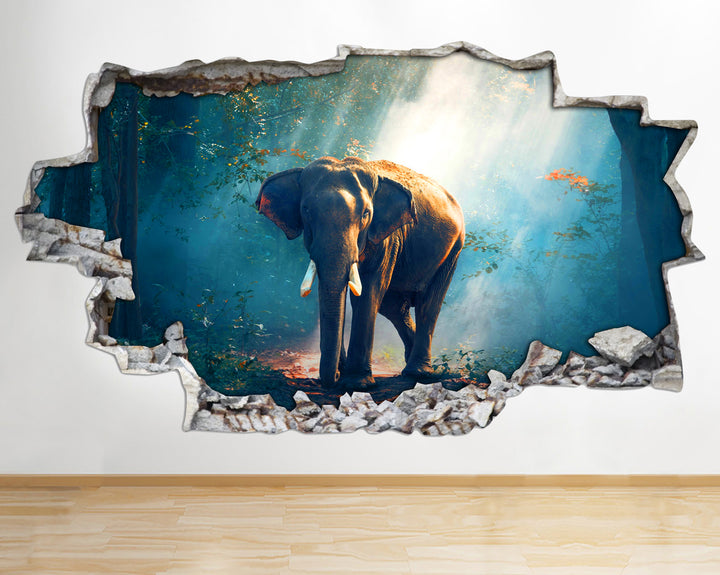 AA097 Elephant Wild Animals Nature Smashed Wall Decal 3D Art Stickers Vinyl Room