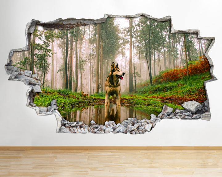 AA098 Husky Dog Animals Nature Smashed Wall Decal 3D Art Stickers Vinyl Room